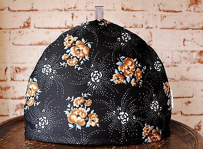 Vintage Fabric Tea Cosy~Black/Floral/Crimplene/Retro/Housewarming Gift/60s/Gold