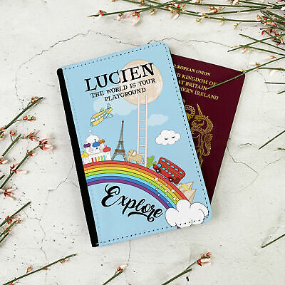 Personalised World Rainbow Passport Cover gift, travellers gift for Children