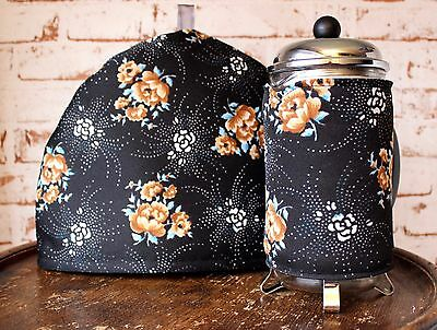 Vintage Fabric Tea & Coffee Cosy~Black/Floral/Crimplene/Retro/Housewarrming Gift