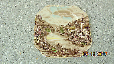 Olde English Countryside Johnson Bros Salad Bread & Butter Square Plate 7.5""