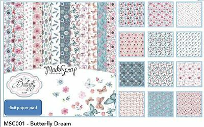 "Elizabeth Crafts 6""x6"" Printed Paper Pack BUTTERFLY DREAM Floral ~12ct ~MSC001"