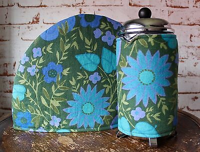 Vintage Fabric Tea & Coffee Cosy Set~Retro/Green/Flower/Housewarming/Cafetiere