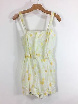 VTG 1950s Yellow Polka Dot Bathing Suit Romper Play Suit With Cover Up Pin Up
