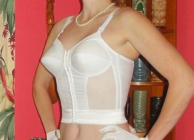 Vintage White Exquisite Form Longline Bullet Bra 42 DD pin up clothing girl 1950