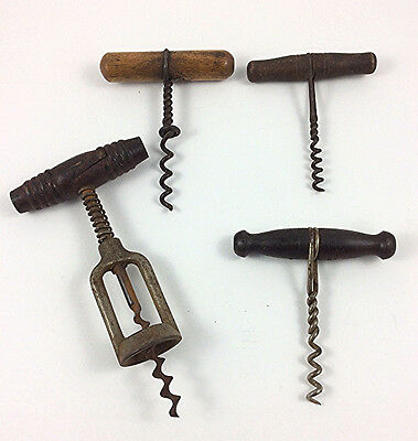 4 Antique corkscrews spring loaded wire
