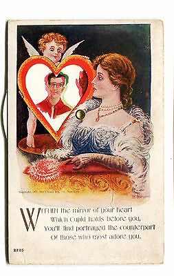 Vintage Postcard Mechanical Wheel VALENTINE CUPID Ullman Revolving Pictures 121