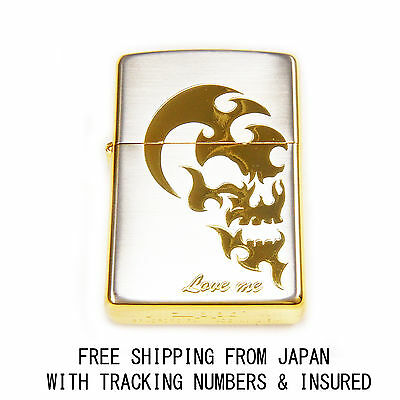 Love Me Gold Engraving Skull Authentic Zippo Japan Limited Model