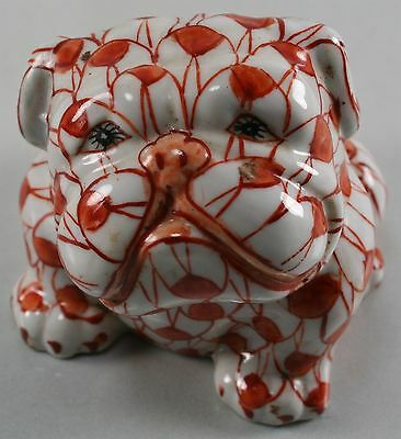 """Chinese Rust Fishnet Seated Bulldog Figure Antique Marked Small 2-3/4"""" tall"""