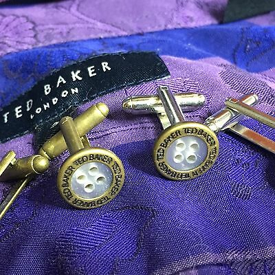 Mens Ted Baker Antique Bronze Silver Plated Pearly Shirt Button Cufflinks + Bag