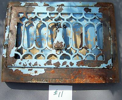 """CAST IRON  Floor/Wall  Register Grate Vent 14-3/4"""" x 11"""" with damper/louvre  #11"""