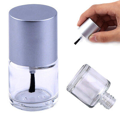 10ml Empty Nail Polish Clear Glass Bottle Storage Container with Silver Cap bt