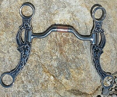 Silver Floral Vine Cheek Western Hinged Comfort Mouth  Port Show Bit. Horse Tack