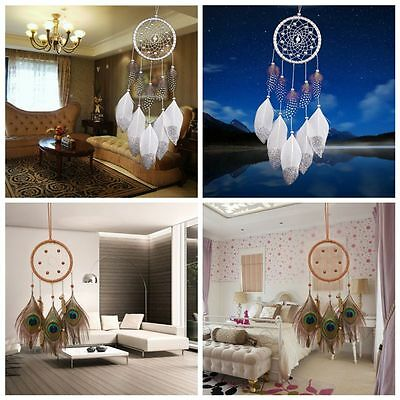 Fashion Handmade Peacock Feathers Dream Catcher Car Wall Hanging Home Ornaments