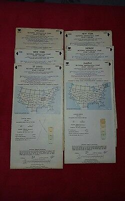 Lot of 6 Vintage Aeronautical Charts from the 70s