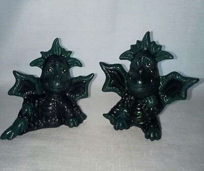 Green Twin Dragons - Set Of Two  Hand Made In Australia