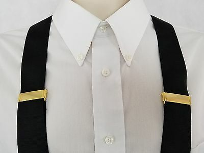 Formal Made In England Mens Braces Suspenders 100% Silk Black Leather Brass