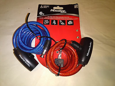 2 6 Ft. MASTER LOCK Integrated Equip LOCK & CABLE One Key COLOR: Red & Blue NEW