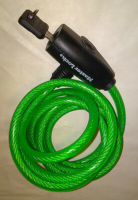 LOCK & CABLE NEW 6 Ft. MASTER LOCK Integrated Equip One Key COLOR: GREEN Vinyl