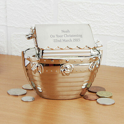 Personalised Engraved Silver Noahs Ark Money Box Christening Gift Baby Boy Girl