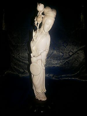 Exquisite antique ivory colour chinese kwan yin statue with natural tusk contour