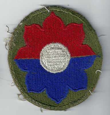 WWII US ARMY 9th Infantry Division CUT EDGE SNOW BACK SSI INSIGNIA PATCH WW2