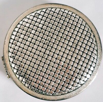 Vintage Powder Compact Empty with Mirror Glomesh Round Silver, Free Aus Post