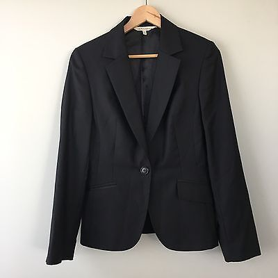 Laura Ashley Black Fitted One-Button Suit Blazer Jacket Wool Silk Blend Size 12