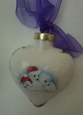 Seals N Holly Heart Christmas Tree Decoration