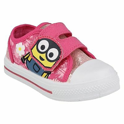 Girls Minion Bob Flower Sparkly Pink Canvas Trainers Size Infant 6 - 12