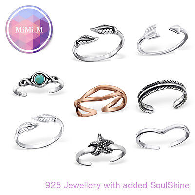 Sterling Silver 925 Adjustable Stacking Midi Ring Toe Knuckle Wishbone Ring