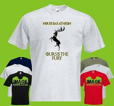 House Baratheon Mens PRINTED T-SHIRT GoT Game Of Thrones Motto Crown Stag Fury