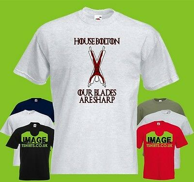House Bolton Mens PRINTED T-SHIRT GoT Game Of Thrones Motto Flayed Man Blades