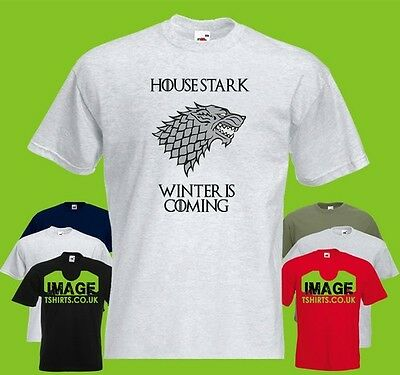 House Stark Mens PRINTED T-SHIRT GoT Game Of Thrones Motto Direwolf Winter