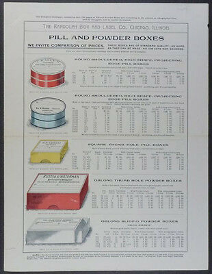 C.1900 American Druggist - Pharmacist Pill Box Prescription Label Trade Catalog