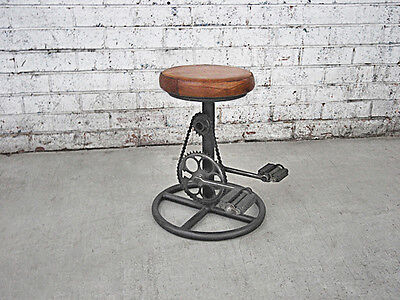 Bicycle Stool Cycle Pedal Leather Seat Industrial Retro Furniture Vintage Bike