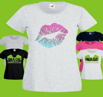 Glitter Lips Ladies PRINTED T-SHIRT Pink Turquoise Love Kiss