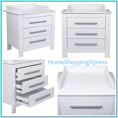 Baby Changing Unit 3 Drawers White Station Nappy Change Storage Wooden Furniture