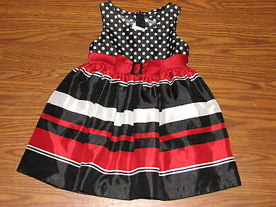 EUC! Toddler Girls 4T Bonnie Jean Holiday Fancy Dress Red Black White Striped