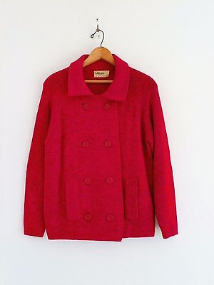Vtg 60s GOLDWORM Red Tones Wool MOD Boho Double Breasted Cardigan Sweater S M