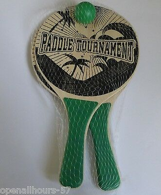 2 x Light Green Coloured Wooden Beach Bats & Ball