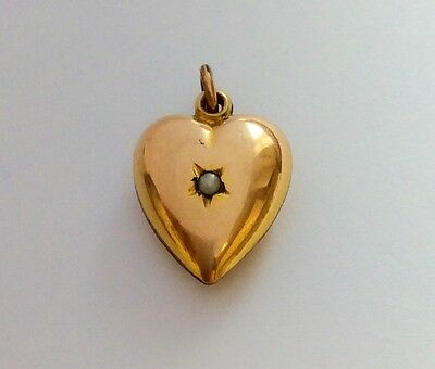 ANTIQUE 9ct GOLD BACK & FRONT PEARL PUFFY LOVE HEART CHARM