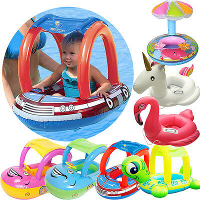 New Sunshade Baby Infant Float Seat Car Flamingo Boat Inflatable Swim Ring Pool