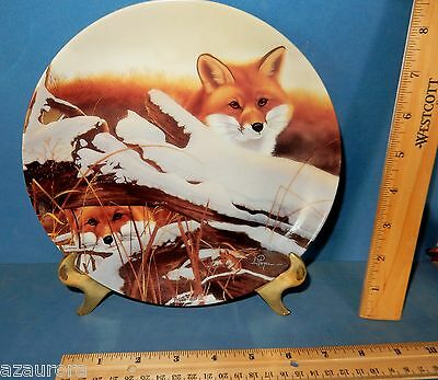 Eyes On The Sly Fox  Friends In Snow Bradford Collector Plate