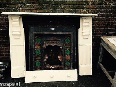 Victorian Edwardian slate Fireplace Mantel Surround with cast iron tiled insert