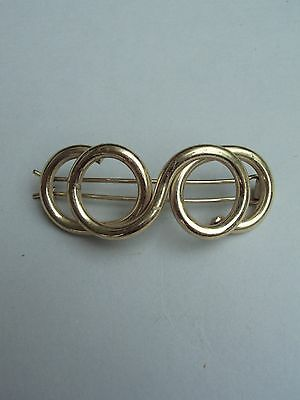 Vtg Intertwined Circles Loops Thick Wirework Shiny Gold Tone Hair Barrette Clip