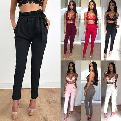 UK New Womens Belted Cigarette Pants Ladies Casual Slim Fit Full Length Trouser
