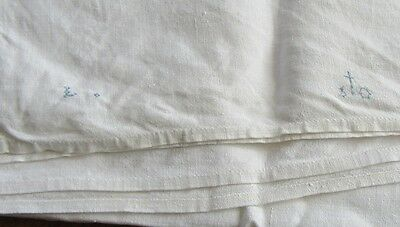Antique Linen Sheet Homespun w Central Seam 80 by 78 Inches Monogram in Blue
