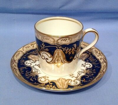 Antique China Cabinet Cup and Saucer Blue and Gilt