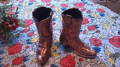 Very Nice Rare Vintage Bronzed Copper Dipped Child Cowboy Boots