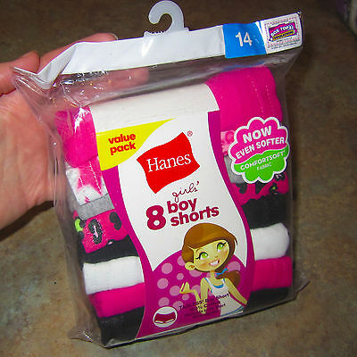 New 8 Pack Girls Size 14 Hanes Boyshort Cotton Panties Underwear Tagless
